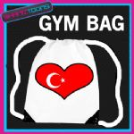 TURKEY HEART FLAG HEART LOVE GYM DRAWSTRING WHITE GYMSAC BAG